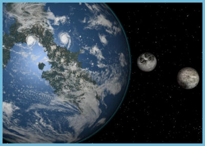 Earth and Two Moons