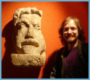 Serge Mocking a Roman Statue, Roman Baths